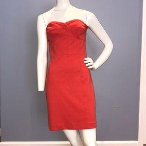 Rebecca Taylor Coral Orange Strapless Dress